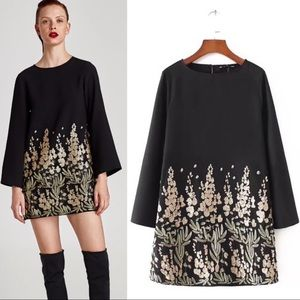 Zara NWT gold sequin embroidered shift dress